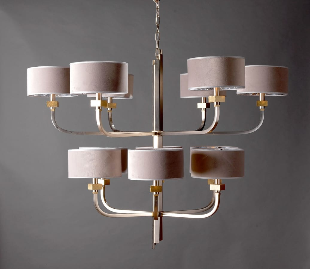 JACKIE HL1086CH-12, Chandelier with brass arms
