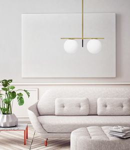 Jugen, Two lights pendant lamp in white blown glass