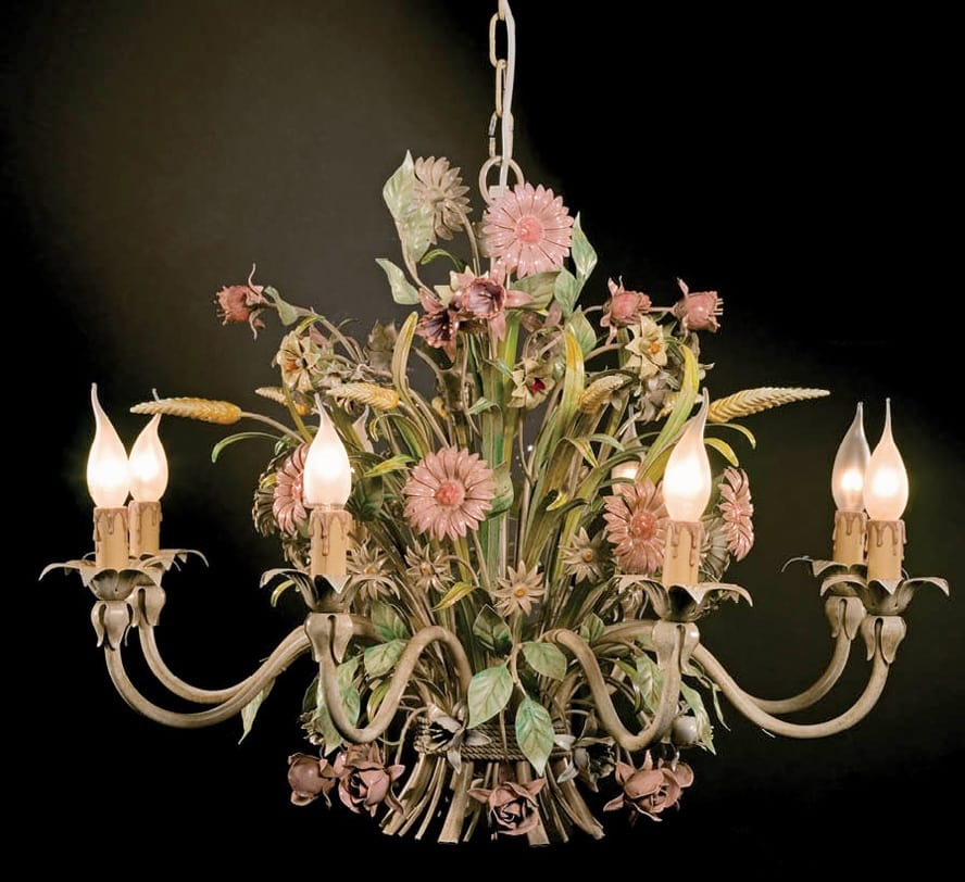 L.3521/8, Chandelier with floral decorations in wrought iron