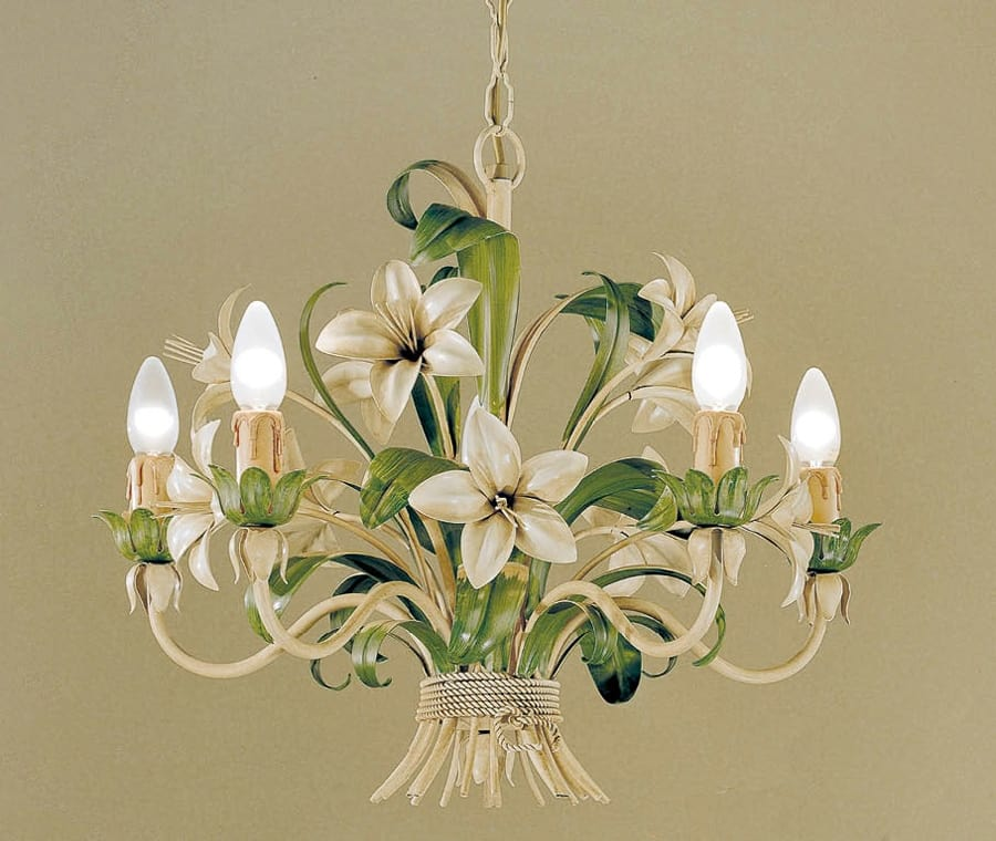 L.3545/5, Chandelier in glass and wrought iron