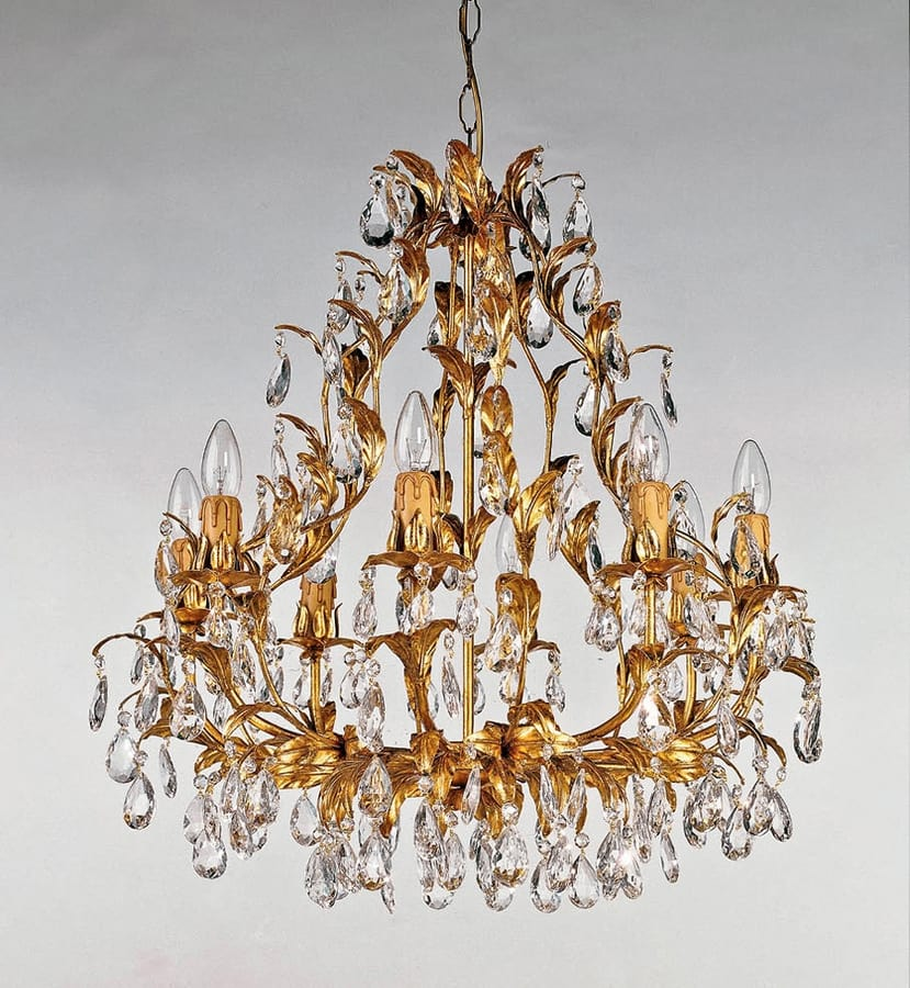 L.380/8, Chandelier with crystal elements