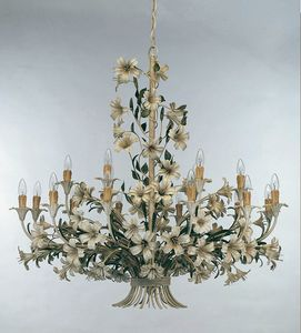 L.4340/12+6, Chandelier with floral decorations in wrought iron