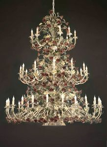 L.5105/24+12+9, 3-stage chandelier with floral decorations