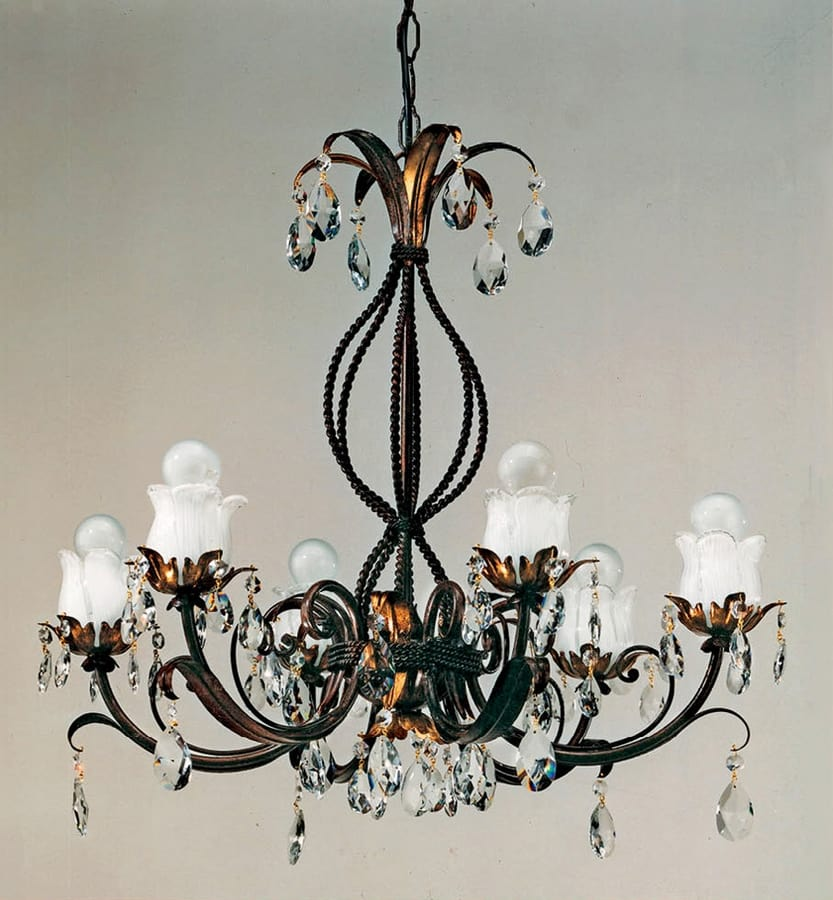 L.5425/6, Chandelier with rust and gold finishes