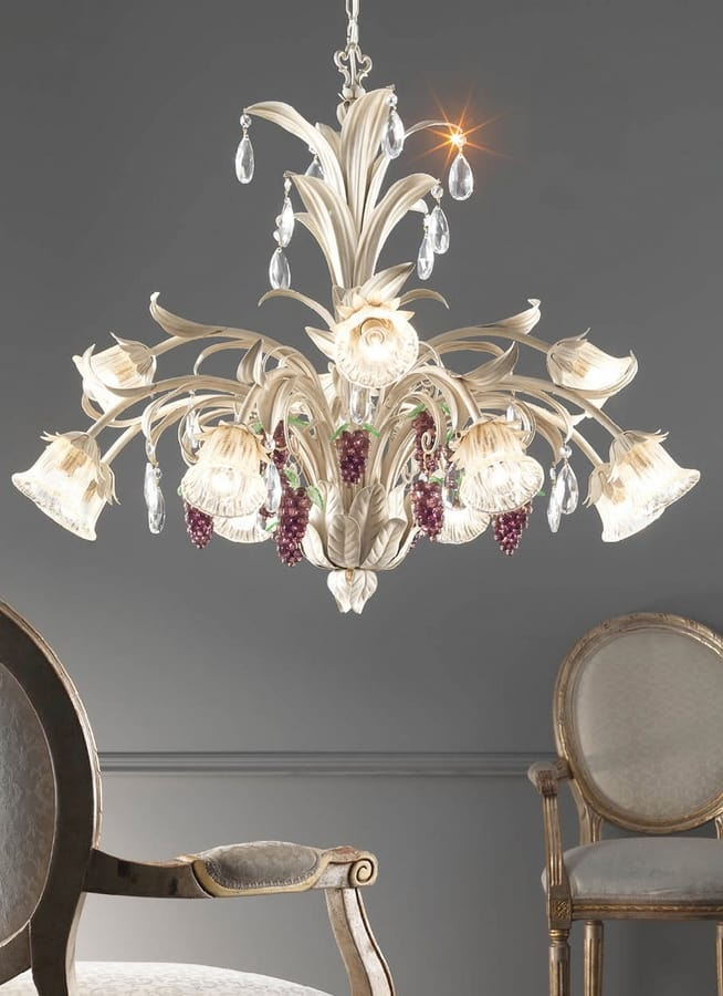 L.6030/8+4, Chandelier with decorations in the shape of bunches of grapes