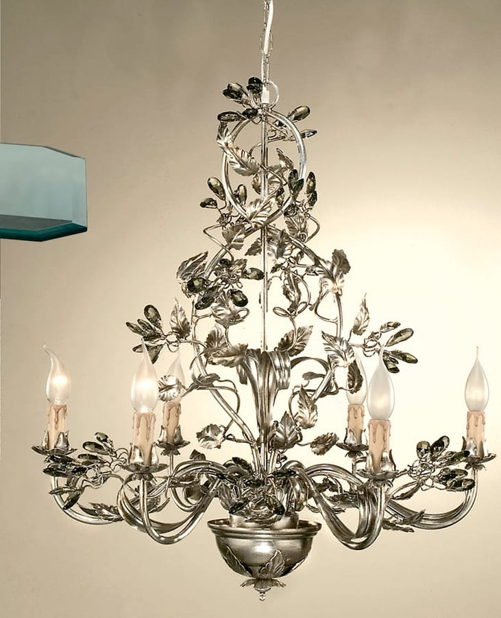 L.7400/6, Chandelier with decorative leaves in wrought iron