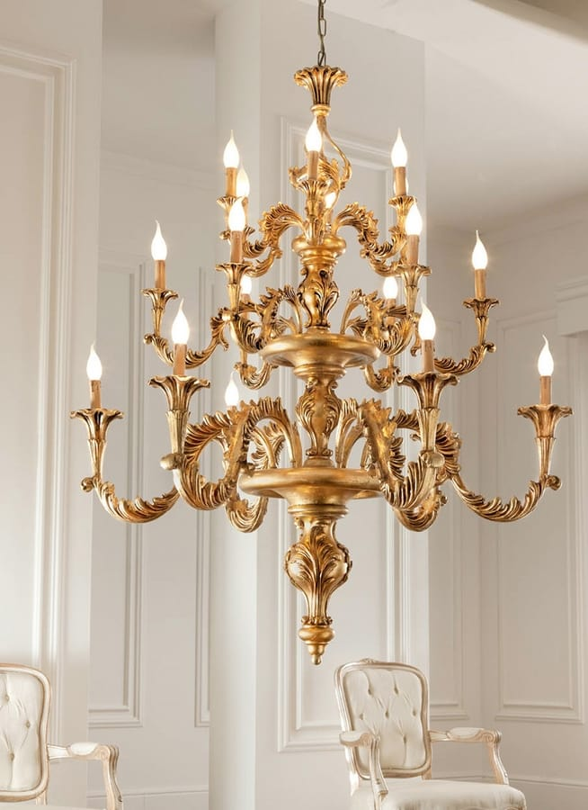 L.7440/6+6+6, Classic chandelier, gold leaf finishes