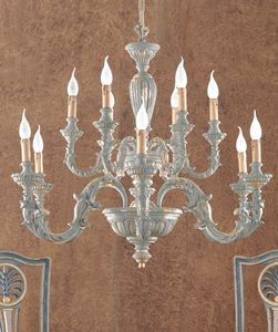 L.7465/6+6, Chandelier in wrought iron and brass