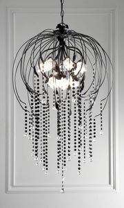 L.7935/12, Chandelier with pendants decorated in glossy black