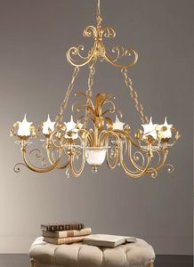 L.8305/6, Chandelier in classic style, gold leaf finishes