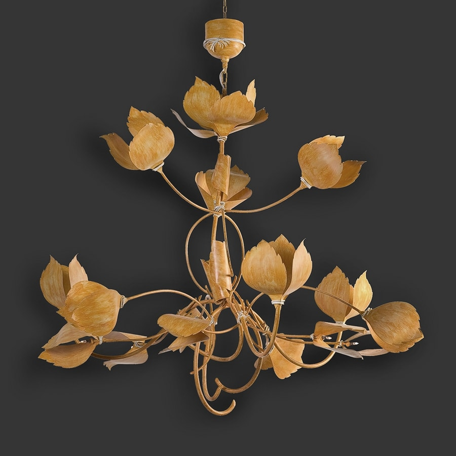 LEAVES HL1105CH-15, Forged iron chandelier with leaves