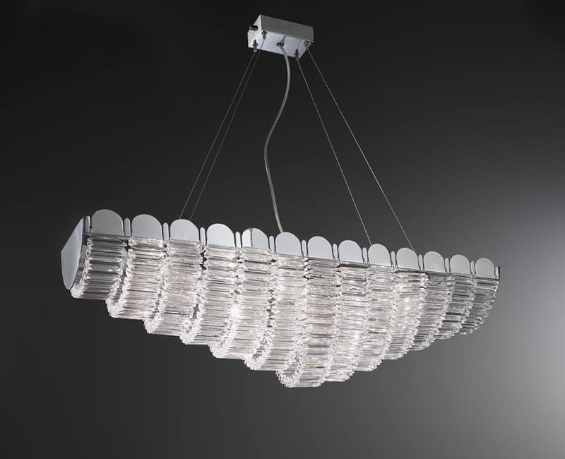 Lucidum ceiling lamp, Iron chandelier, lampshades in organza, crystal pendants