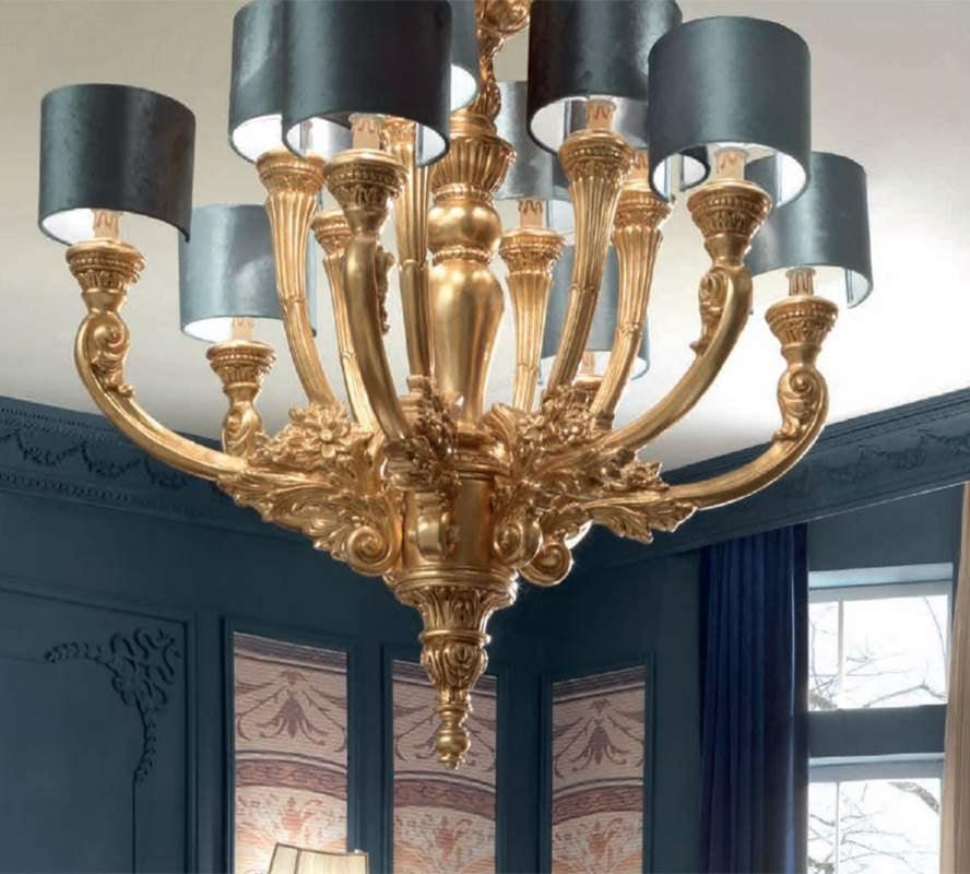 Luigi XVI Art. LAM03/12L, Elegant gold finish chandelier