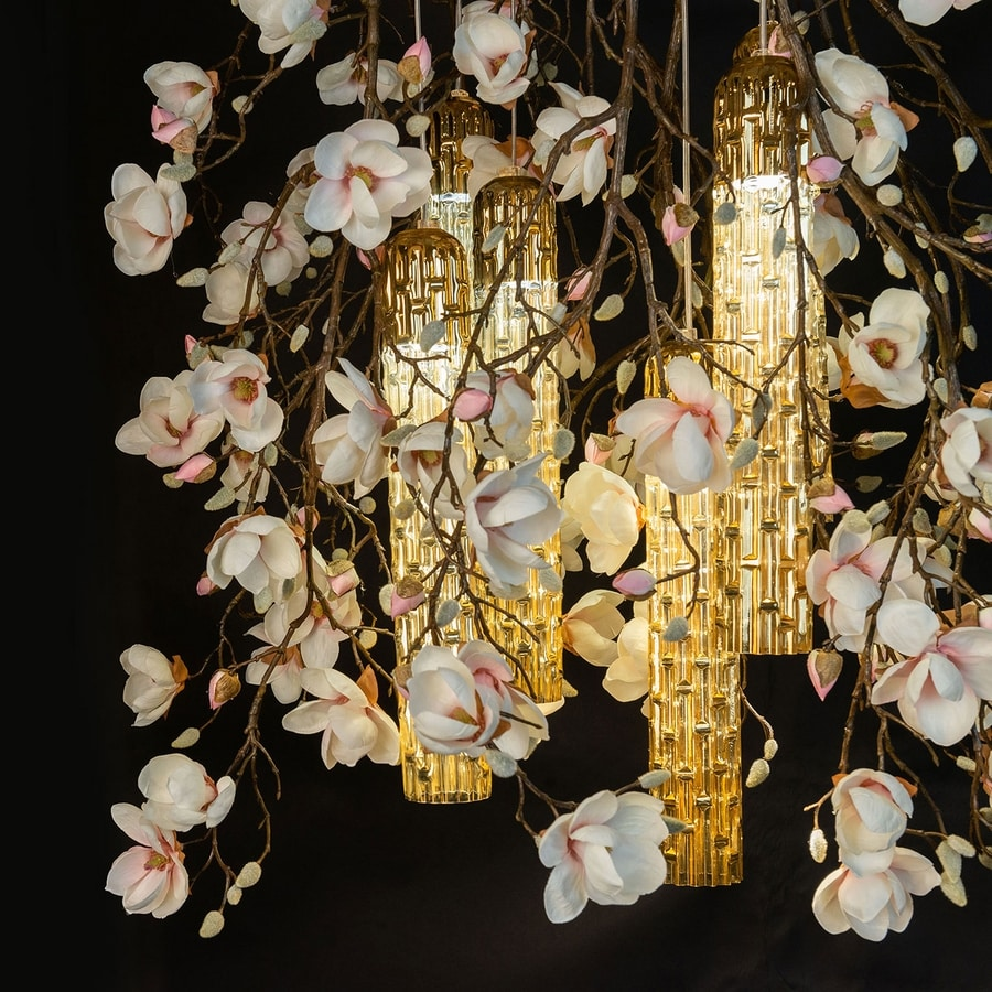 Flower Power Magnolia, Chandelier with artificial flowers