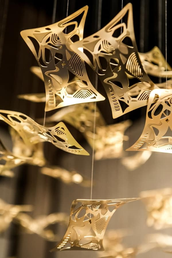 Manta ray, Brass LED suspended chandelier