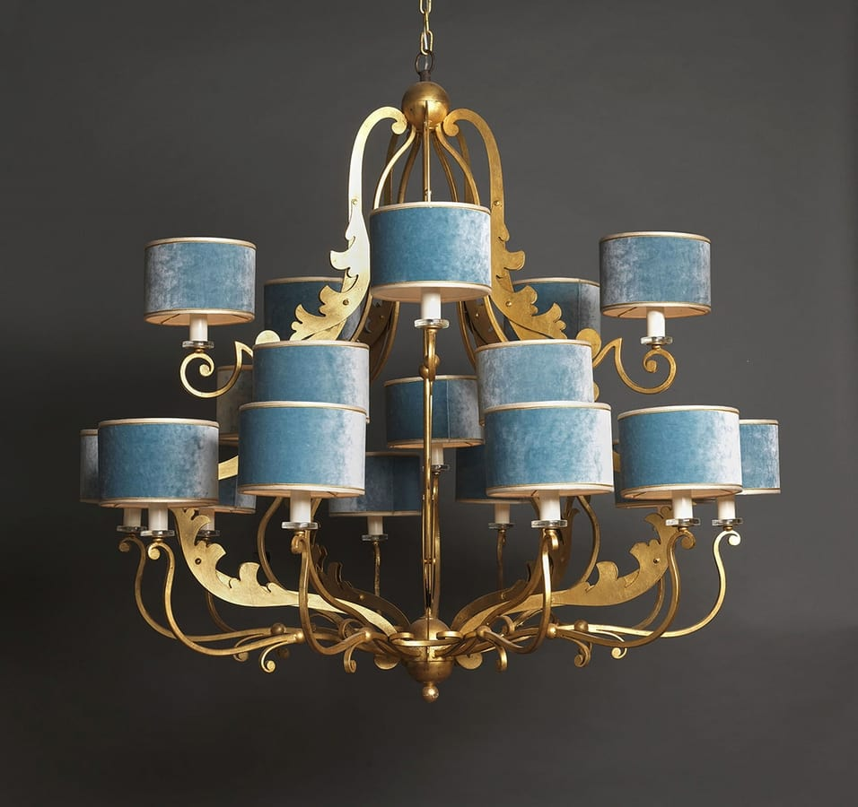 MAROT HL1055CH-20, Iron chandelier with fabric lampshades