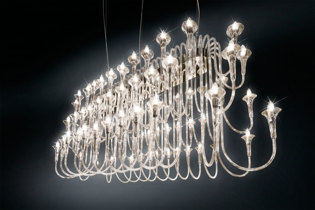 Maxi Octopus 72, Pyrex glass and steel chandelier