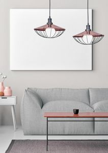 Mikado, 2 lights suspension with copper lampshade