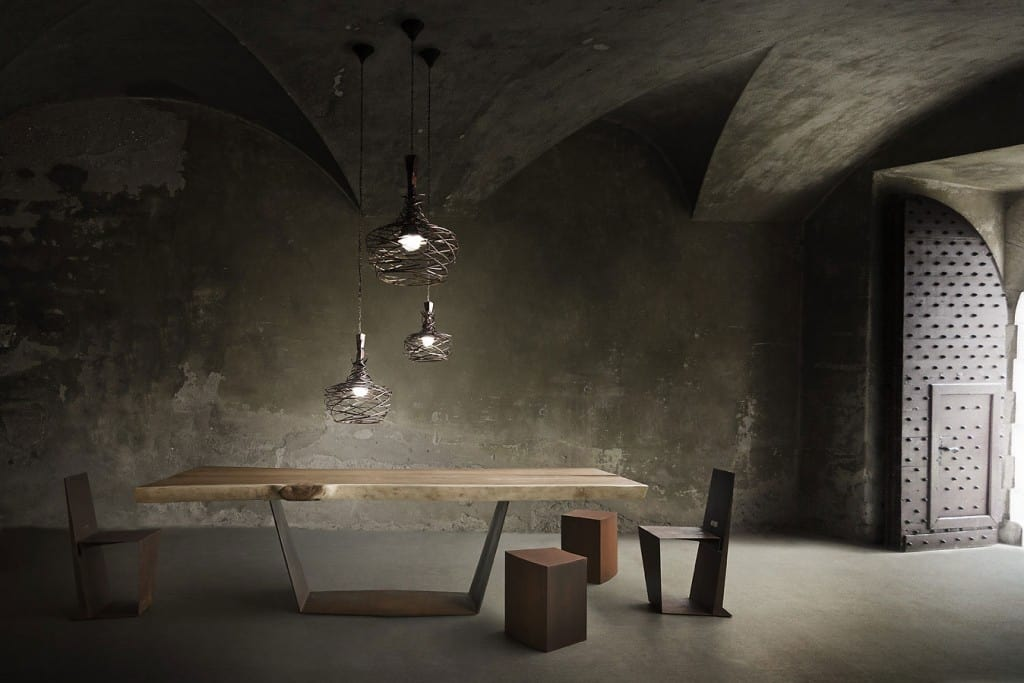 Nest, Pendant lamps in tubular iron intertwined by hand