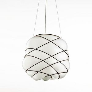 Nuage Ms436-040, Modern chandelier in white blown glass