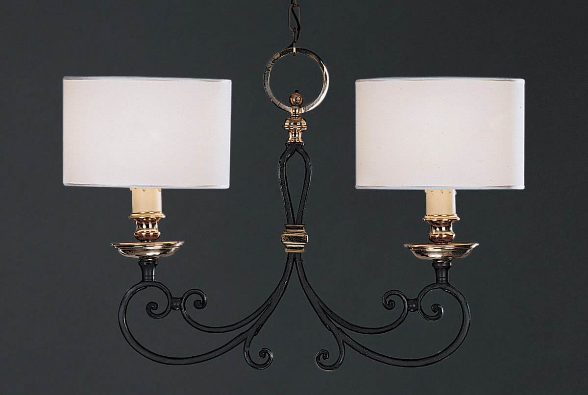 OPANCA HL1018CH-2, Lampdario with 2 fabric lampshades