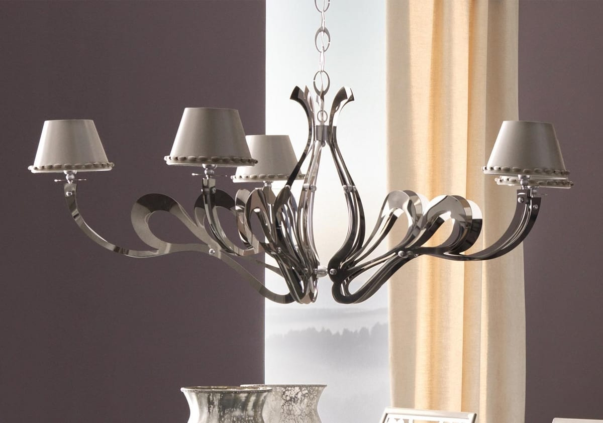 Orione-Roll art.1451-R, Decorative chandelier with iron or steel decorative arms