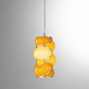 Orione Rs384-020, Suspension lamp in orange or pink blown glass