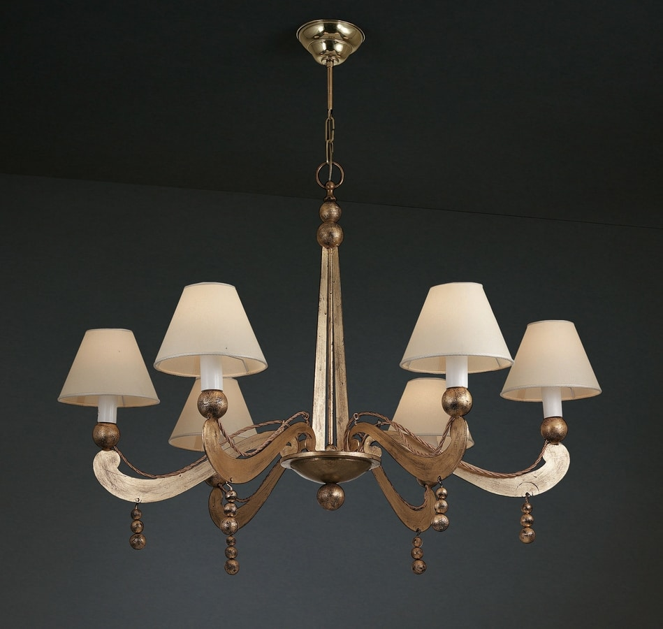 PALLINI HL1094CH-6, Iron chandelier with balls and lampshades