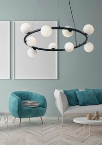 Pom�, Circular chandelier, with glass spheres