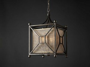 QUATTRO HL1003CH-4, Square chandelier in forged iron
