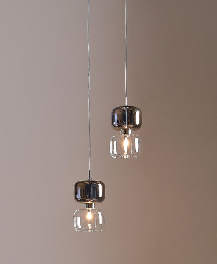 RETRO', Table and suspension lamp with metal and glass diffuser