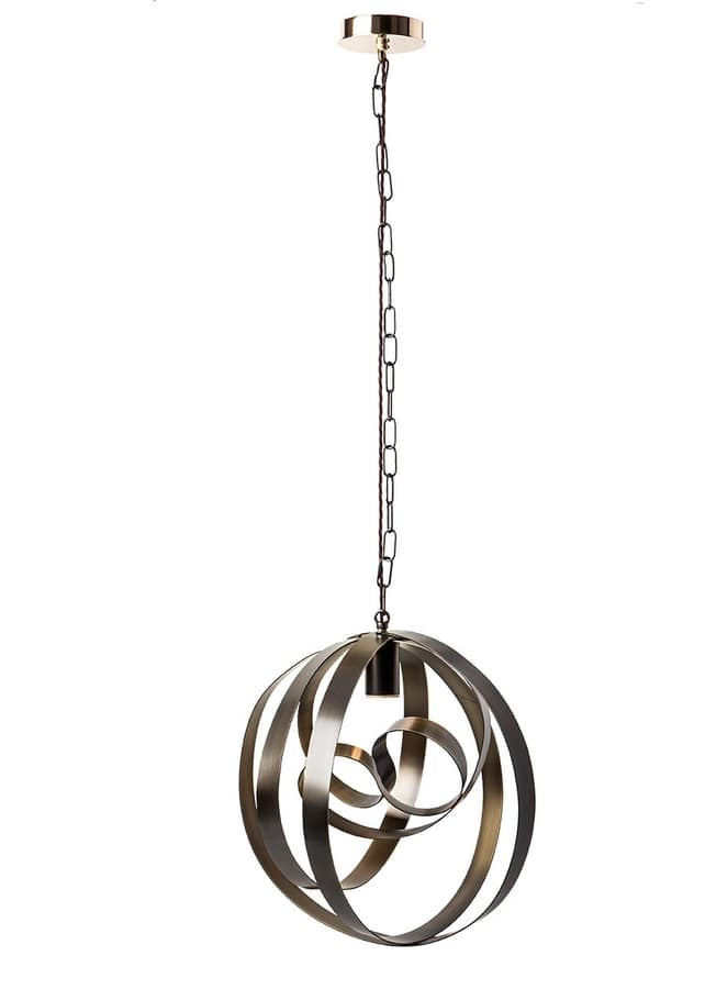 Rodin chandelier, Hanging lamp, hand-made, in curved iron