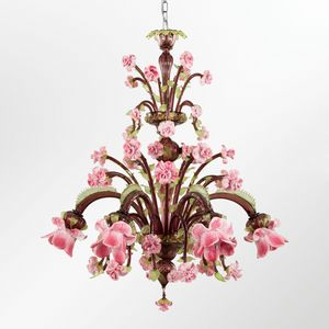 Rosae-Rosarum SE0251-6-M2GRZ, Glass chandelier with rose-shaped elements