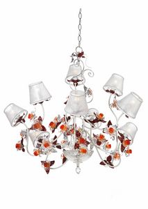 Rose LA/9, Chandelier with decorative flowers in Murano glass