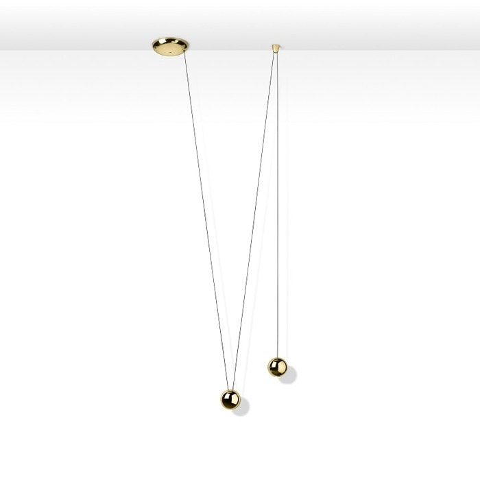 Sfere Single Suspension Lamp, Suspension lamp with brass spheres