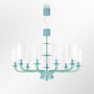 Tribeca BLP0385-9-G, Chandelier in green glass with white lampshades