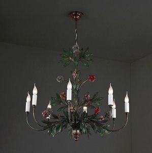 VASO FIORITO HL1077CH-8, Forged iron chandelier with flowers