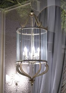 VETRI TAGLIATI HL1084CH-5, Iron lantern with glass decorations