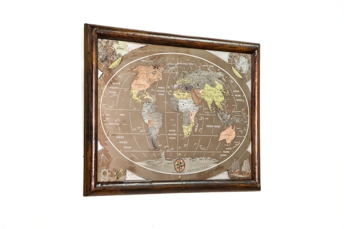 Art. AA463, World Map made with aged bronze and engraved brushed