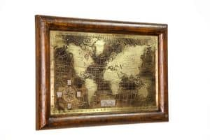 Art. AA464, World Map made with aged and brushed bronze