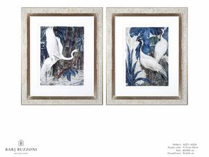 Art and Nature, white herons I - Art and Nature, white herons II - AQ33 - AQ34, Watercolor paintings with herons