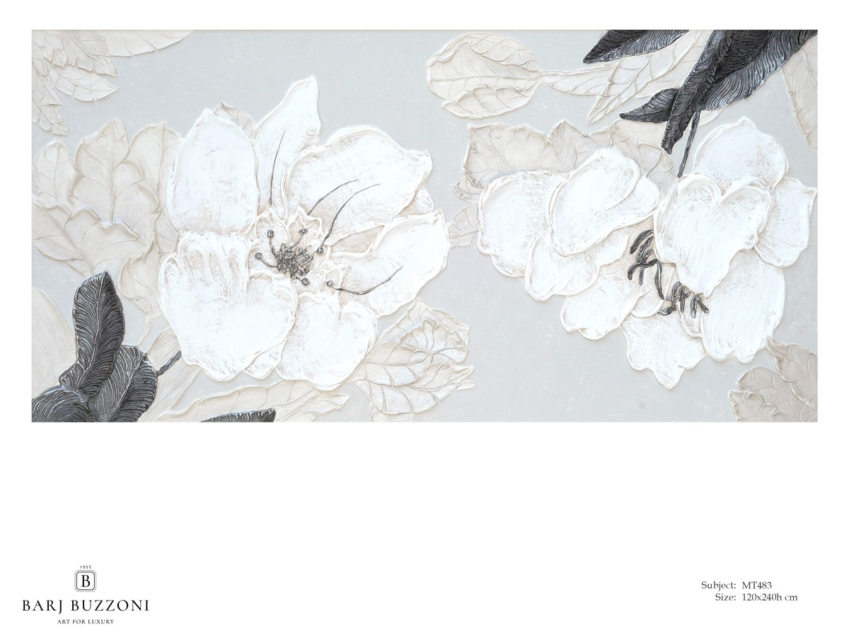 Delicate flowers with leaves - MT483, Floral picture with bas-relief effect