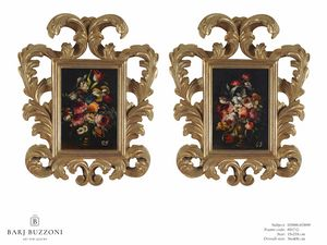 Flowers with vase � H 3898-3899, Floral oil paintings
