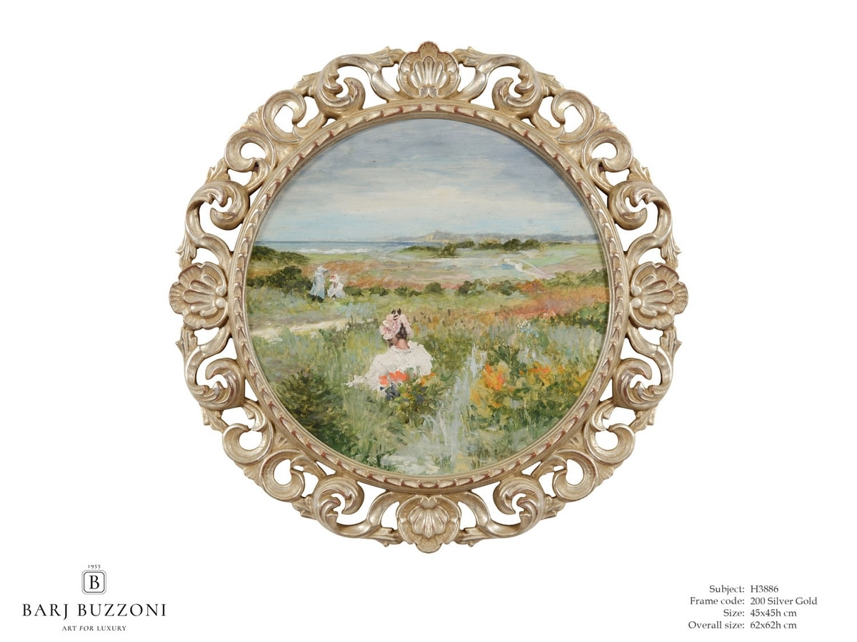 Lady immersed into nature sound – H 3886, Round oil painting
