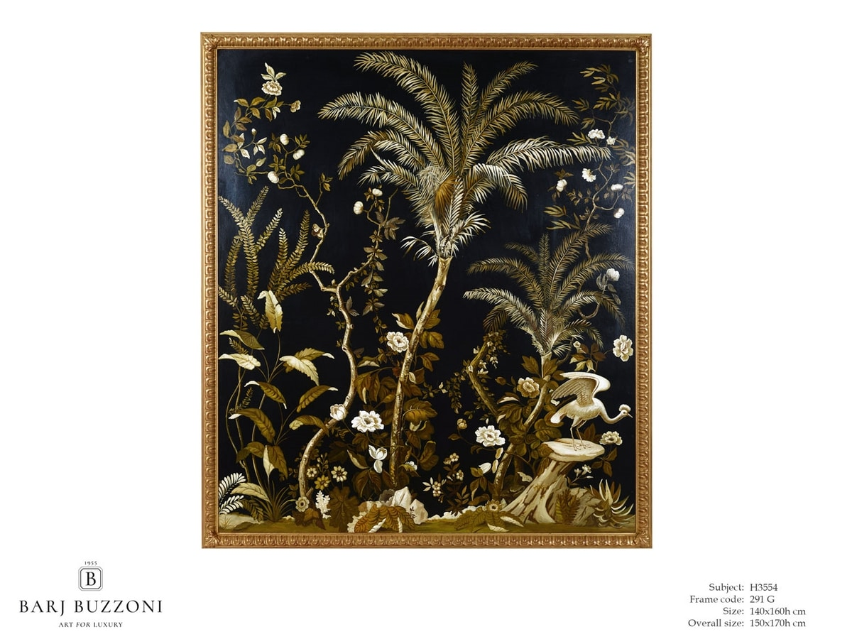 Lush exotic nature – H 3554, Painted on canvas, with exotic nature