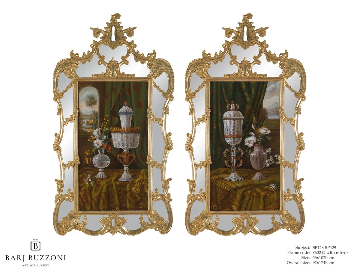 Murano goblet recollection – SP 428-429, Oil painting, with mirror frame