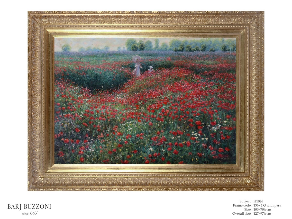 Promenade in the poppies field – H 1026, Oil painting with poppies