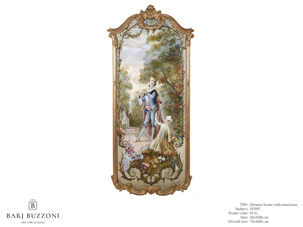 Romantic frame with musician – H 3597, Classic style oil painting