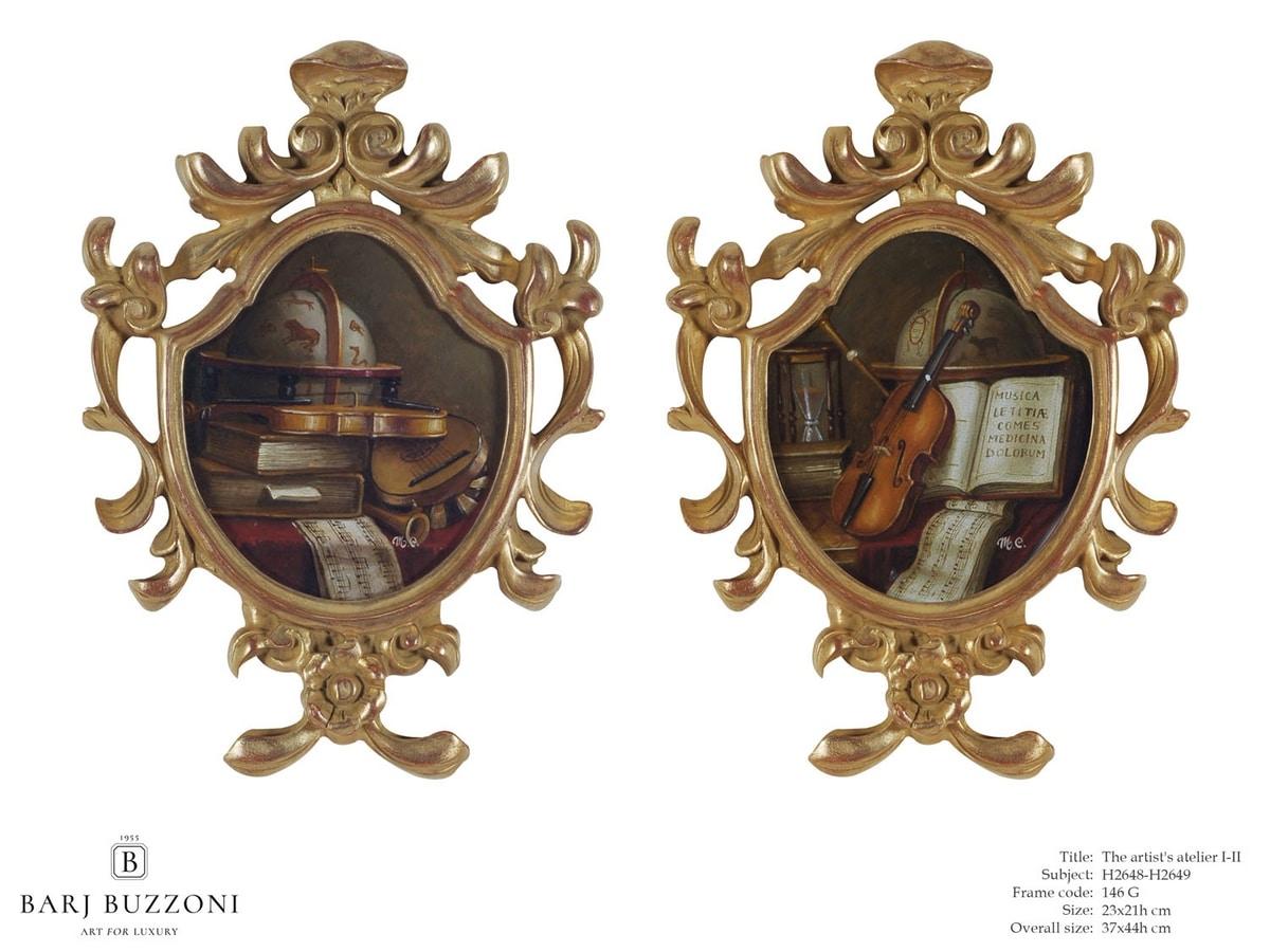 The artist atelier I-II – H 2648-2649, Hand carved wooden frame artwork
