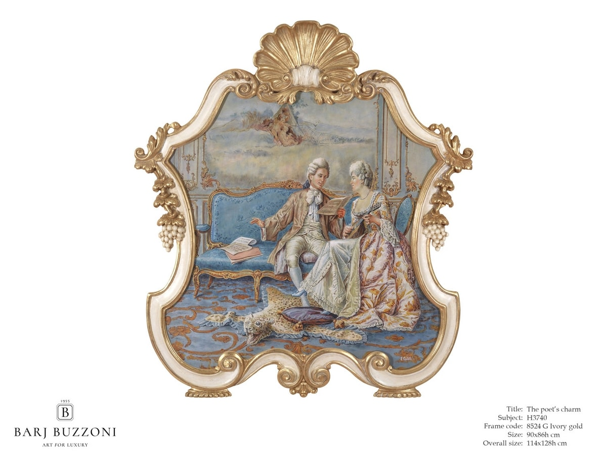 The poet's charm – H 3740, Classic style painting, with carved frame